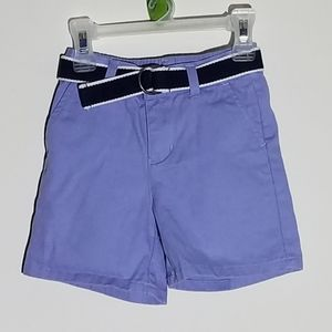 Janie and Jack Blue Chino Shorts with Belt 3-6m